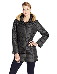 Hawke & Co. Women's Mid-Length Down Coat with Faux Fur Trim
