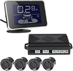 ePathChina® Mini LED Display 4 Sensors Kit Dual CPU Car/Truck/Vehicle Reversing Parking Sensor/Backup Sensor/Reversing Sensors System Radar Buzzer System,Periodic Buzzer Alarm, LED Rader,Three Stage Bi-Bi Sound Alarm System - Black Color