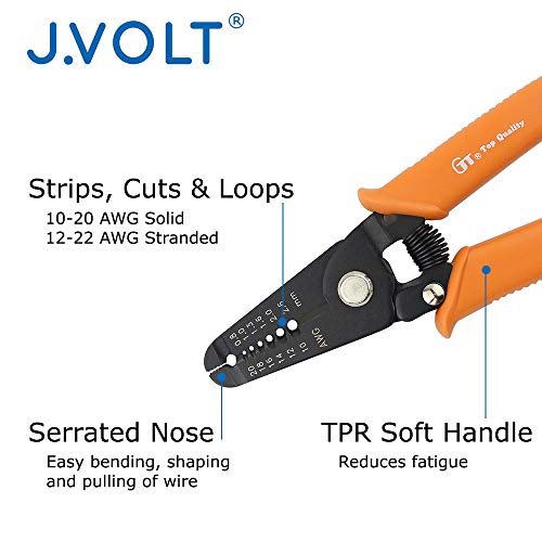 """J.VOLT HTL3260 Wire Stripper 10-20 AWG, Stranded Wire Cutter, Solid Wire Cutter, with Safety Lock. 6"""" Compact Size by J.VOLT (Image #1)"""