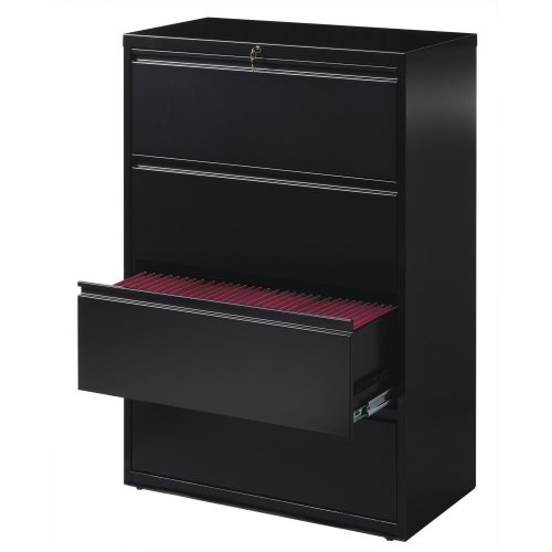 Lorell 4-Drawer Lateral File, 36 by 18-5/8 by 52-1/2-Inch, Black by Lorell