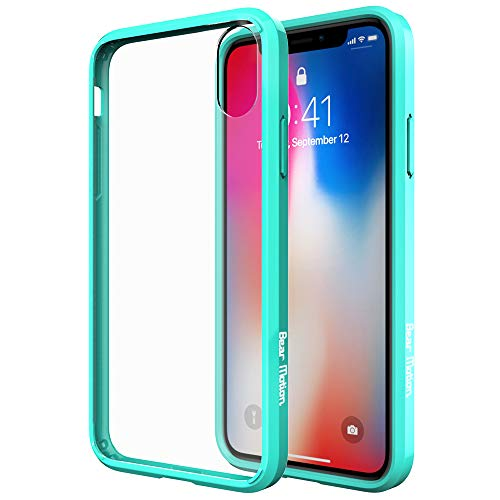 Bear Motion for iPhone Xs Max - Premium Shock Absorptive Fusion Case for iPhone Xs MAX with Transparent PC Back Cover and Shockproof TPU/TPE Dumper Side (Green Trim) ()