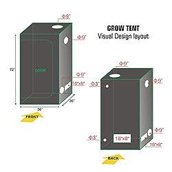"""TopoGrow D-Door 120""""X60""""X78"""" Indoor Grow Tent Room 600D Mylar High Reflective Non Toxic Hut, 10'X5'"""