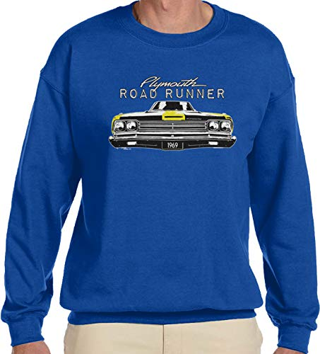 Amdesco Men's Plymouth Road Runner Officially Licensed Crewneck Sweatshirt, Royal Blue 2XL ()