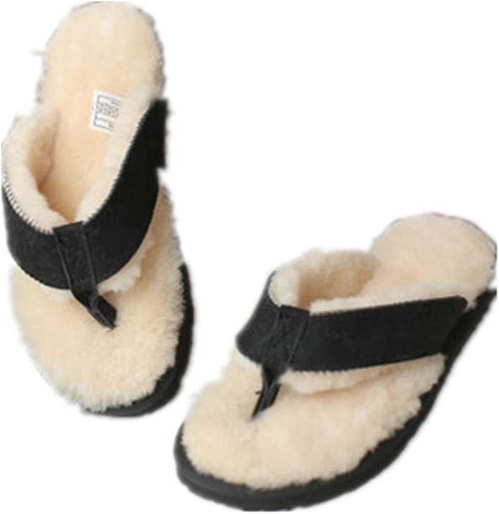 Winter Real Sheep Fur Genuine Sheep Leather One Fur Flip Flops Warm Slides with Fur Lined Women Men Unisex Suede Thong