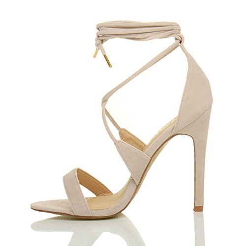Nude Suede Women High Barely up Tie Ajvani Lace Size There Heel Sandals vOpPBxP