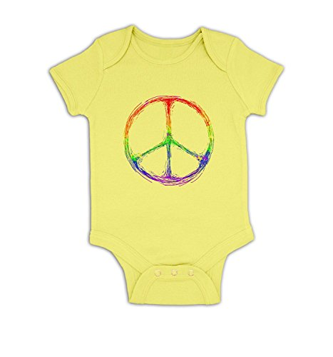Rainbow Peace Sign Baby Grow - Pale Yellow 6-12 (Peace Pale Sign)