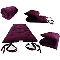 Brand New Burgundy Traditional Japanese Floor Futon Mattresses 3'thick X 30'wide X 80'long, Foldable Cushion Mats, Yoga, Meditaion.