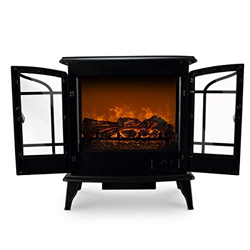 Cheap Mandycng Spa Massage Shop Double Door Freestanding Fireplace Hallway Livingroom Fireplace Winter Heater Modern 1400W Adjustable Electric Fireplace Heater Fire Flame Heat Stove Log Wood Stand Black Friday & Cyber Monday 2019