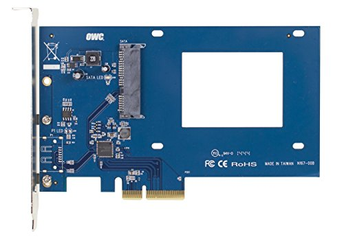 "OWC Accelsior S PCIe Adapter for 2.5"" SATA III SSD Drives 1 PCIe to 2.5"" 6Gb/s SATA SSD Host Adapter, directly mount any standard 2.5"" drive Storage Expansion With a Speed Boost, Up to 550 MB/s sustained speeds Install in any available PCIe x4 (or greater) slot-Use as a native, high-speed, boot drive or scratch-disk and boost capacity and performance"