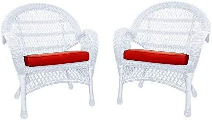Jeco Wicker Chair with Red Cushion, Set of 2, White W00209-