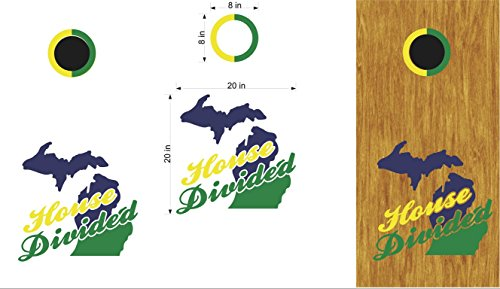 House Divided Michigan, State Cornhole Board Decals Stickers Bean Bag ()