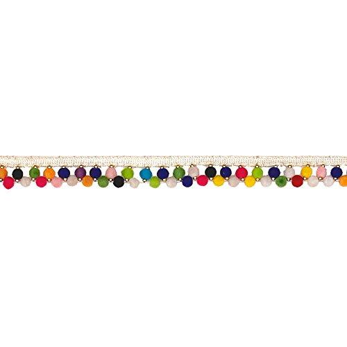 0.75' Pom Poms (3/4in Tianna Beaded Pom Pom Trim Multi Color)