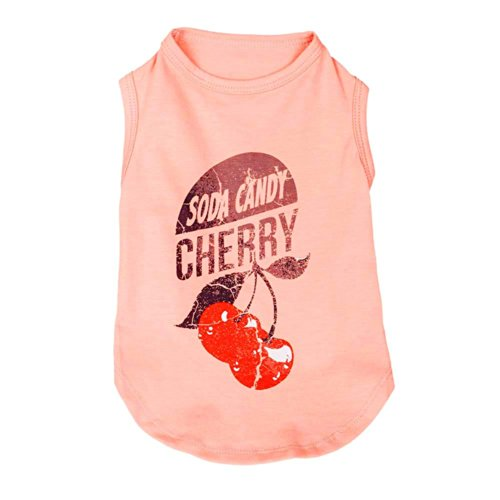 Blueberry Pet Cherry Soda Candy Cotton Dog Tank Top Shirt in Light Coral, Back Length 12