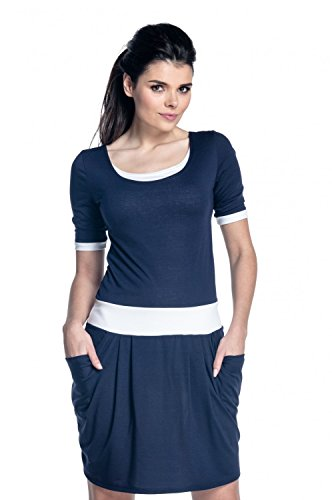 Zeta Ville - Vestito allattamento abito tasche dettagli contrasto - donna - 698c Marina