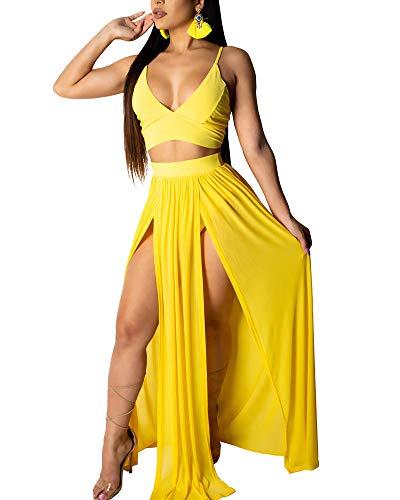 - Uni Clau Two Piece Outfits for Women Sundress - Spaghetti Strap Deep V Neck Long Dress 2 Piece Yellow M