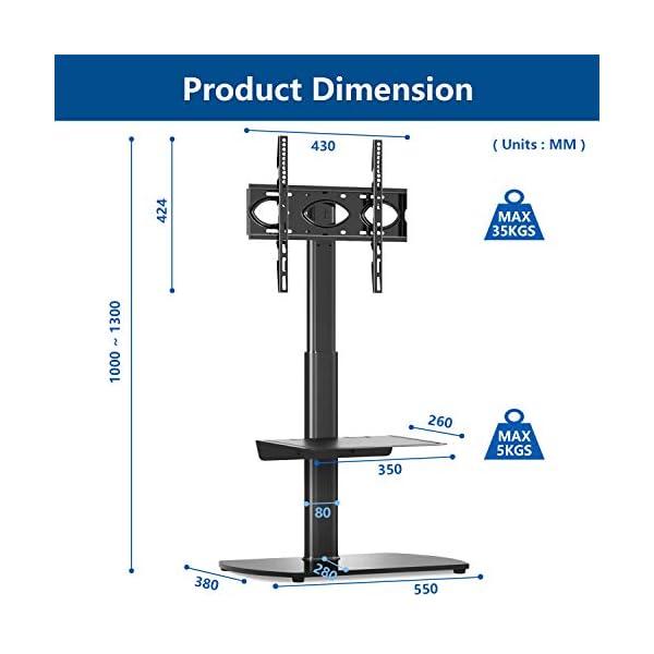 RFIVER Meuble TV Support avec Tablette pour Téléviseur de 27 à 55 Pouce Ecran LED LCD Plasma Meuble TV Pivotant à 60…