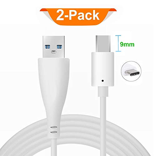 Extended Tip - DGSUS 2Pack 3.3ft 9mm Extra Long Extended Tip Jack USB C Data Sync Fast Charge Charger Cable Cord (Male A to Type C 3.1 Male) for IP68 Waterproof/Rugged Phone White (2 Pack Cable)