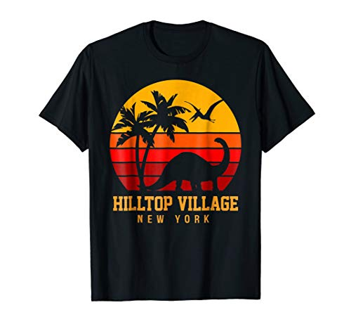 Hilltop Village Vintage Sunset Dinosaur Beach Funny T-Shirt