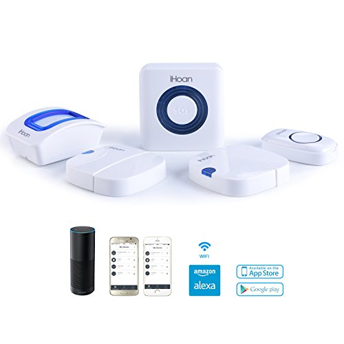 iHoan Smart Home Wifi APP-Enabled Security Alarm System, a hub included, Work With Alexa, With a Doorbell Button
