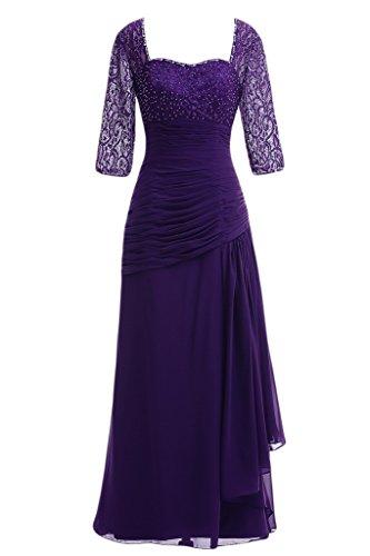 Festkleid Ivydressing Damen Spitze Promkleid Abendkleid Violett amp;Chiffon Paillette Aermel Halb qOgqwf1
