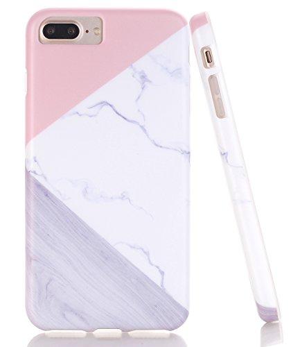 iPhone 7 Plus Case,iPhone 8 Plus Case, WALAGO Pink Geometric Marble Wood Grain Design Clear Bumper TPU Soft Rubber Silicone Anti-Scratch Matte Back Case for iPhone 6/6S/7/8 Plus [5.5 ()