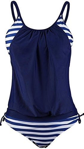 Womens Stripes Lined Up Double Up Tankini Top 2 PCS Swimsuit Swimwear S Navy