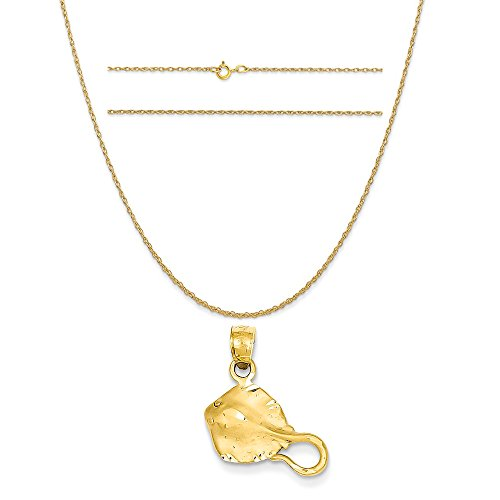 14k Yellow Gold Stingray Pendant on a 14K Yellow Gold Carded Rope Chain Necklace, 18