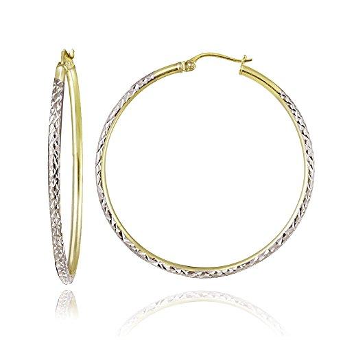 Hoops & Loops Sterling Silver Two Tone 2mm Diamond Cut Round Hoop Earrings, 40mm