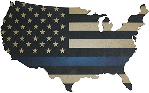 """Thin Carved (Thin Blue Line American Flag Wall Art - Large 36"""" x 22"""" Laser Cut Wood Map with Distressed Vintage US Flag Print)"""
