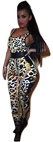 NEW imprimé léopard Chaîne Combinaison Club Wear Party été Porter Taille S 10