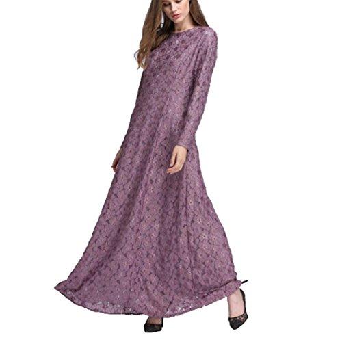 Beikoard Vestidos de Manga Larga de Las Mujeres, Encaje musulmán, Faldas largas para la adoración Púrpura