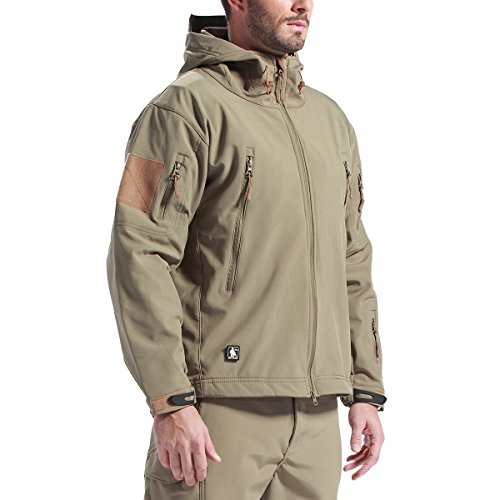 Price comparison product image FREE SOLDIER Men's Outdoor Waterproof Soft Shell Hooded Military Tactical Jacket(Mud XL)