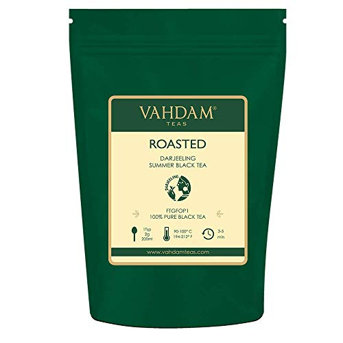 Roasted Darjeeling Tea (50 Cups) PRIME Second Flush Darjeeling Tea Leaves - Strong & Aromatic - Lopchu Darjeeling Tea Character, 100% Pure Unblended Darjeeling Tea, Packed at Source in India