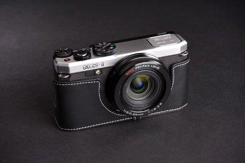 PENTAX ペンタックス MX-1 (MX1)用本革カメラケース ブラック、ブラウン (カメラケース&ストラップLK1881&バッテリーケース, ブラック) B01M9JH4ER ブラック カメラケース&ストラップLK1881&バッテリーケース