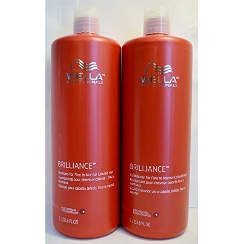 Wella Brilliance Conditioner and Shampoo For Fine To Normal Colored Hair 33.8 Ounce Duo Set         (Best Conditioner For Normal Hair)