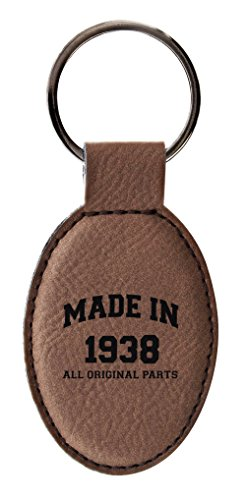 ThisWear 80th Birthday Gifts Made 1938 Birthday Gifts for Grandpa or Grandma Birthday Gifts Leather Oval Keychain Key Tag Brown