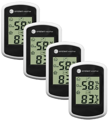 Ambient Weather WS-03-4 Compact Indoor Temperature and Humidity Monitor, 4 Pack by Ambient Weather
