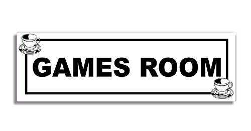 Games Room - Door Sticker Sign - Tea Cup - Coffee Shop Self Adhesive - Shop Gams