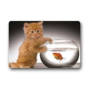 Generic gato y peces felpudo (23.6por 15.7-inch)