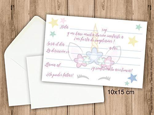 Invitaciones para fiesta de cumpleaños Unicornio. Pack de 6 invitaciones 10x15 cm + 6 sobres: Amazon.es: Handmade