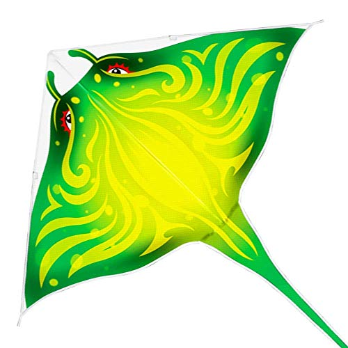 Mint's Colorful Life Devil Fish Kites for Kids Adults,Easy to Fly Delta Kite Single Line Large, Kite Handle Include (Green)