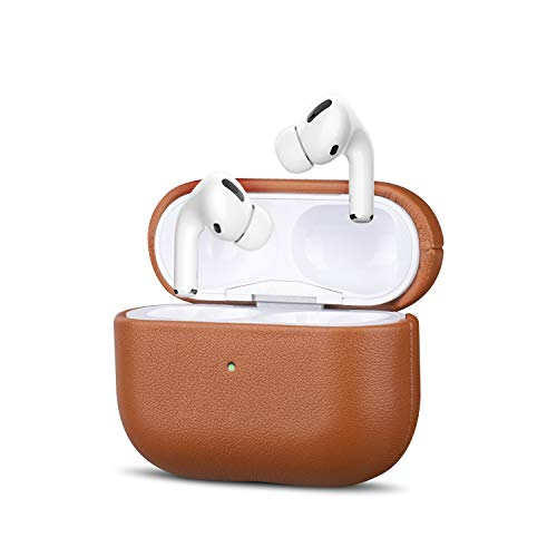 AirPods Pro Leather Case, KWUY Handcrafted Fully-Wrapped Full-Grain Genuine Leather Cover (Front LED Visible), Support Wireless Charging Shockproof Protective Shell for AirPods Pro - Brown