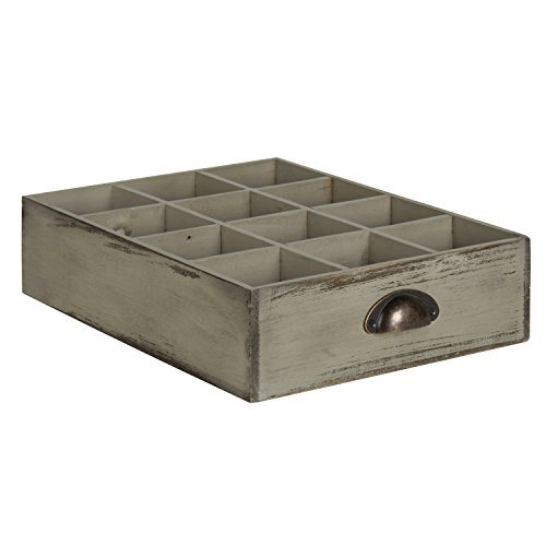 Kate and Laurel - Woodmont 12 Slot Distressed Wood Soda Crate, Gray (Wooden Crate Centerpiece)
