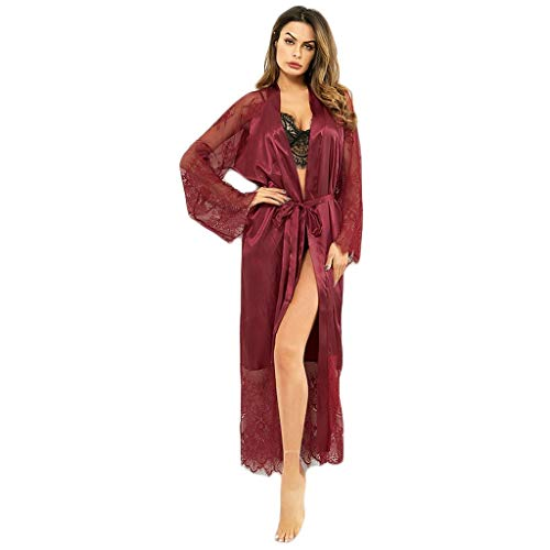 Womens Lace Trim Kimonos Robes Long Satin Gown Bathrobe Sleepwear Lace Sleeve Loungewear with Belt Red