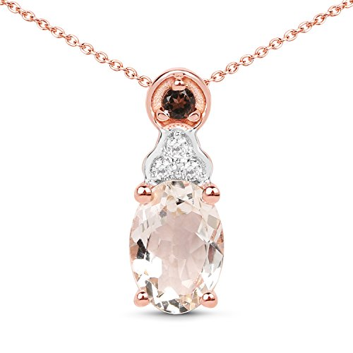 18k Rose Gold Plated Genuine Morganite, Smoky Quartz and White Zirconia .925 Pink Sterling Silver Pendant Necklace ()