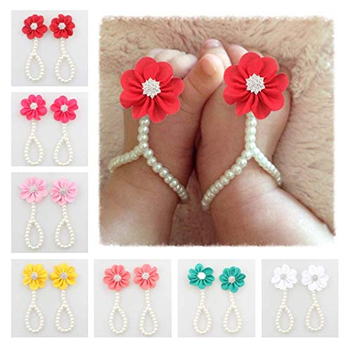 (7PC Baby Girl Pearl Chiffon Barefoot Flower Sandals Value Set,Lovely and Charming Design Available Fit 3~48 Months (Color) )