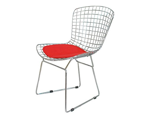 Mod Made Mid Century Modern Chrome Wire Dining Side Chair for Dining Room Kitchen or Outdoor, Red