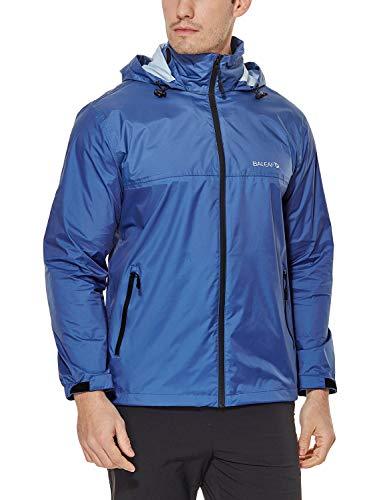 Baleaf Men's Rain Jacket Waterproof Front-Zip Raincoats Hideaway Hood Navy XXL