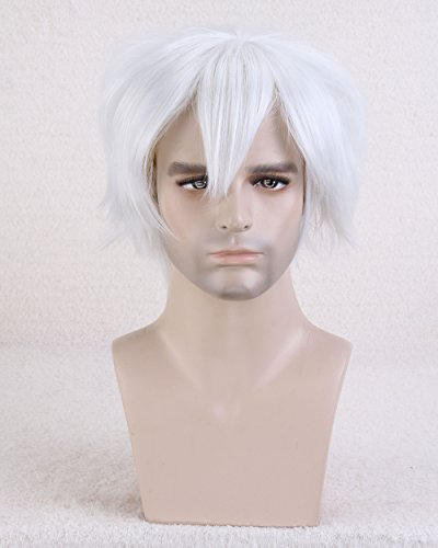 Easy To Do Celebrity Costumes (Cool2day® Cosplay Fashion Men's Short Layered Heat Resistant Hair For Party Full Wig JF011318 (Silver White))