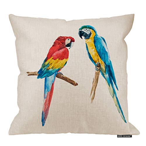 HGOD DESIGNS Parrot Pillow Cover,Watercolor Drawing of A Bird Macaw Cotton Linen Cushion Covers Home Decorative Throw Pillowcases -